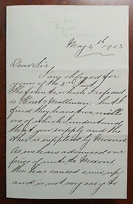 1903 Letter from Jaggar, Carr House, Shelley, Huddersfield
