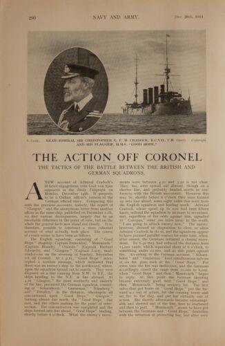 1914 WW1 ARTICLE & PICS REAR ADMIRAL CRADOCK HMS GOOD HOPE CHILLIAN COAST