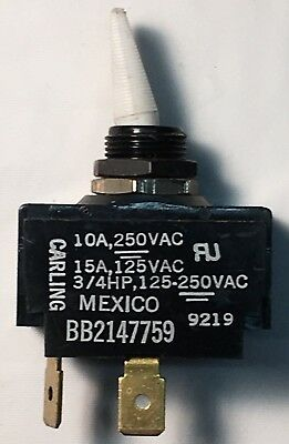 Momentary White Toggle Switch 15a 125vac 2 Terminal Normally Open 34 Hp