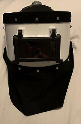 Custom Welding Hood Flip Lens Black Suede Leather White Hood New