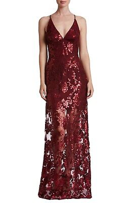 DRESS the POPULATION Berry Vivienne Sequin Floral Lace Illusion Stretch Gown L