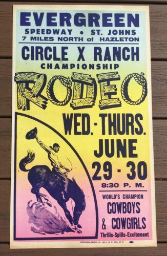 Evergreen Raceway Hazleton Pa. Circle X Ranch RODEO Stock Car Racing Poster Sign