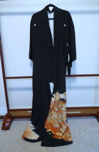 Japanese Black Formal Silk Kimono, Tomesode