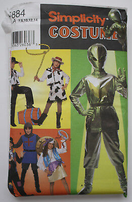 Sewing Pattern / Simplicity Costumes Kids 5884/Alien,Hobo,Gypsy,Cowboy/UNCUT,NEW