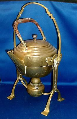 Antique 1910 Aesthetic Movement Brass Tea Kettle & Stand Wiener Werkstaette