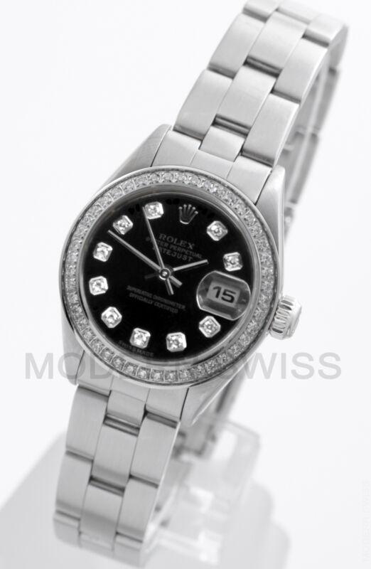 Rolex Ladies Datejust Steel Black Diamond Dial & Bezel Oyster Perpetual Model