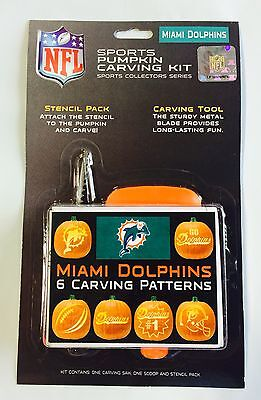 Halloween Miami Dolphins (Miami Dolphins Halloween Pumpkin Carving Kit New! Stencils for)