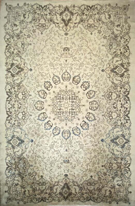 Broken Border - 1930s Oriental Rug - Antique Handmade Carpet - 9 X 12.10 Ft