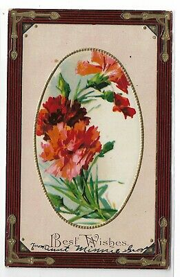 ANTIQUE Post Card Best Wishes Pink Maroon (Best Birth Announcement Cards)