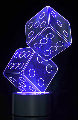 Battery Operated Optical Illusion 3d Dice Lighting Lamp Desk Top Gift Toy Tg824