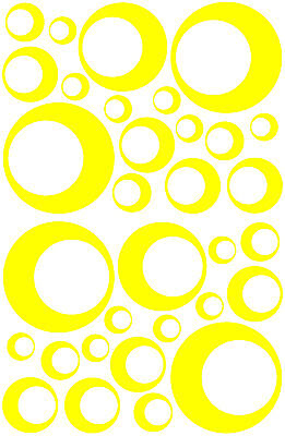 (32 YELLOW CIRCLE CIRCLE BUBBLE LOOK BEDROOM WALL DECAL STICKER VINYL GIRL TEEN)
