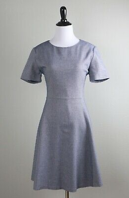 THEORY $200 Albita Meterie Blue White Woven Cotton Lined Flared Dress Size -