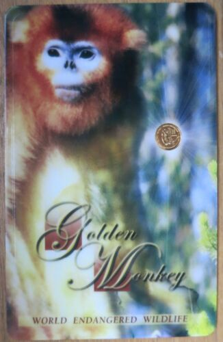 Laos .3g Gold Monkey Mini Coin on Card