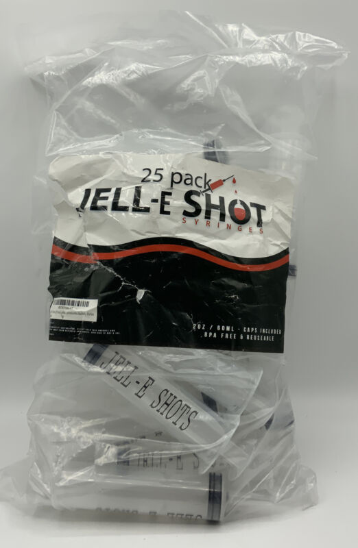 Jell-E Shot Syringes (25 Pack Jello Shots) For Parties Caps Included