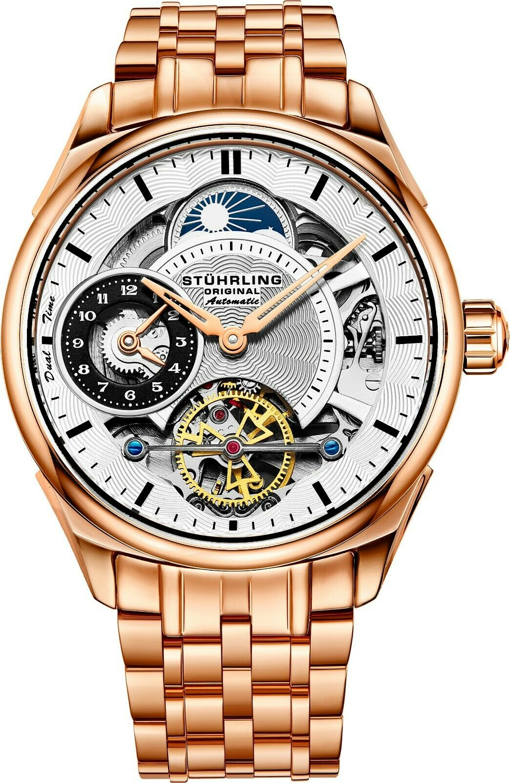 Stuhrling Men's Skeleton Rose Case Silver Dial Rose Bracelet Dual Time Watch