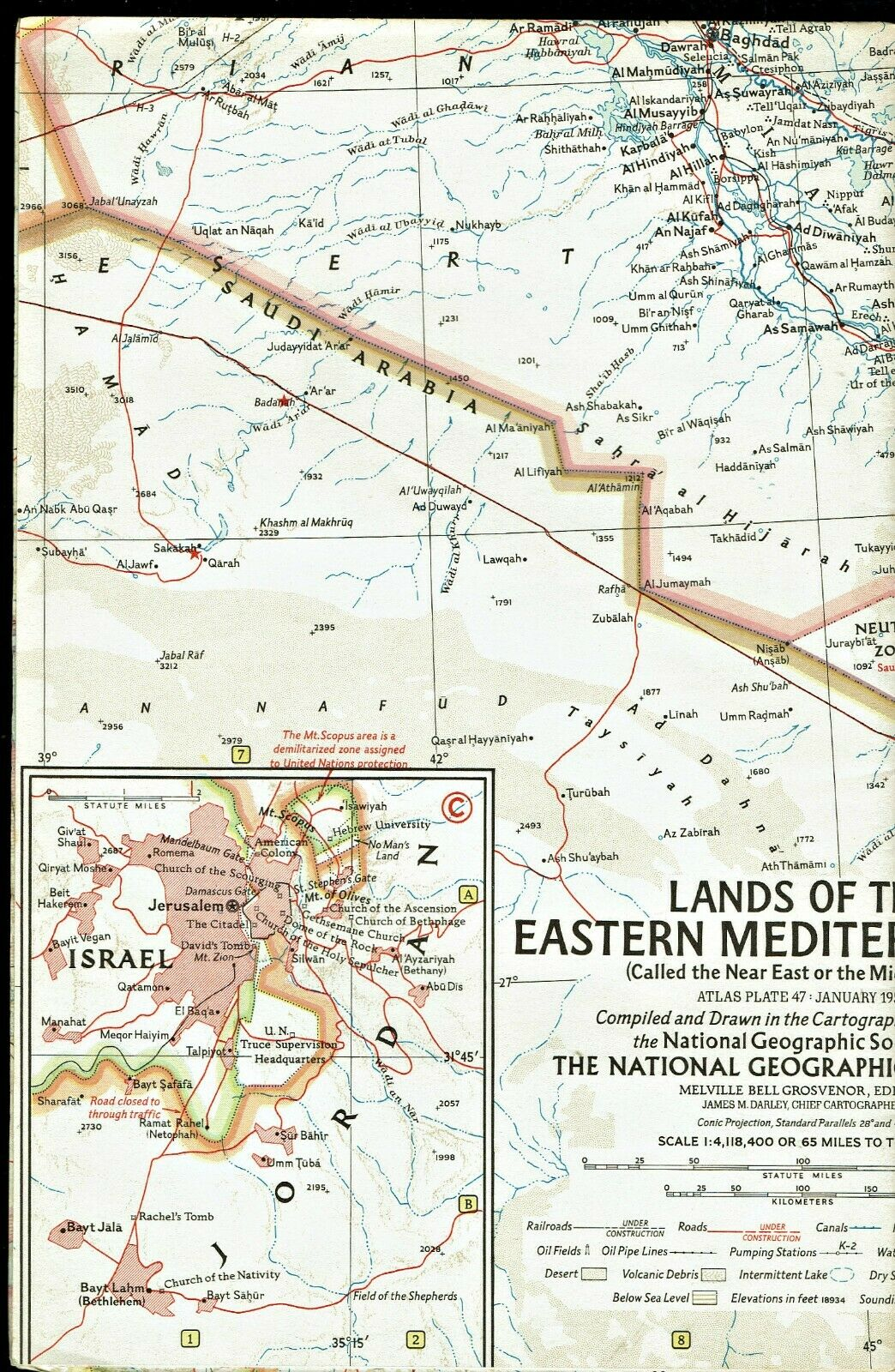⫸ 1959-1 January Vintage Map Lands EASTERN MEDITERRANEAN National Geographic A3