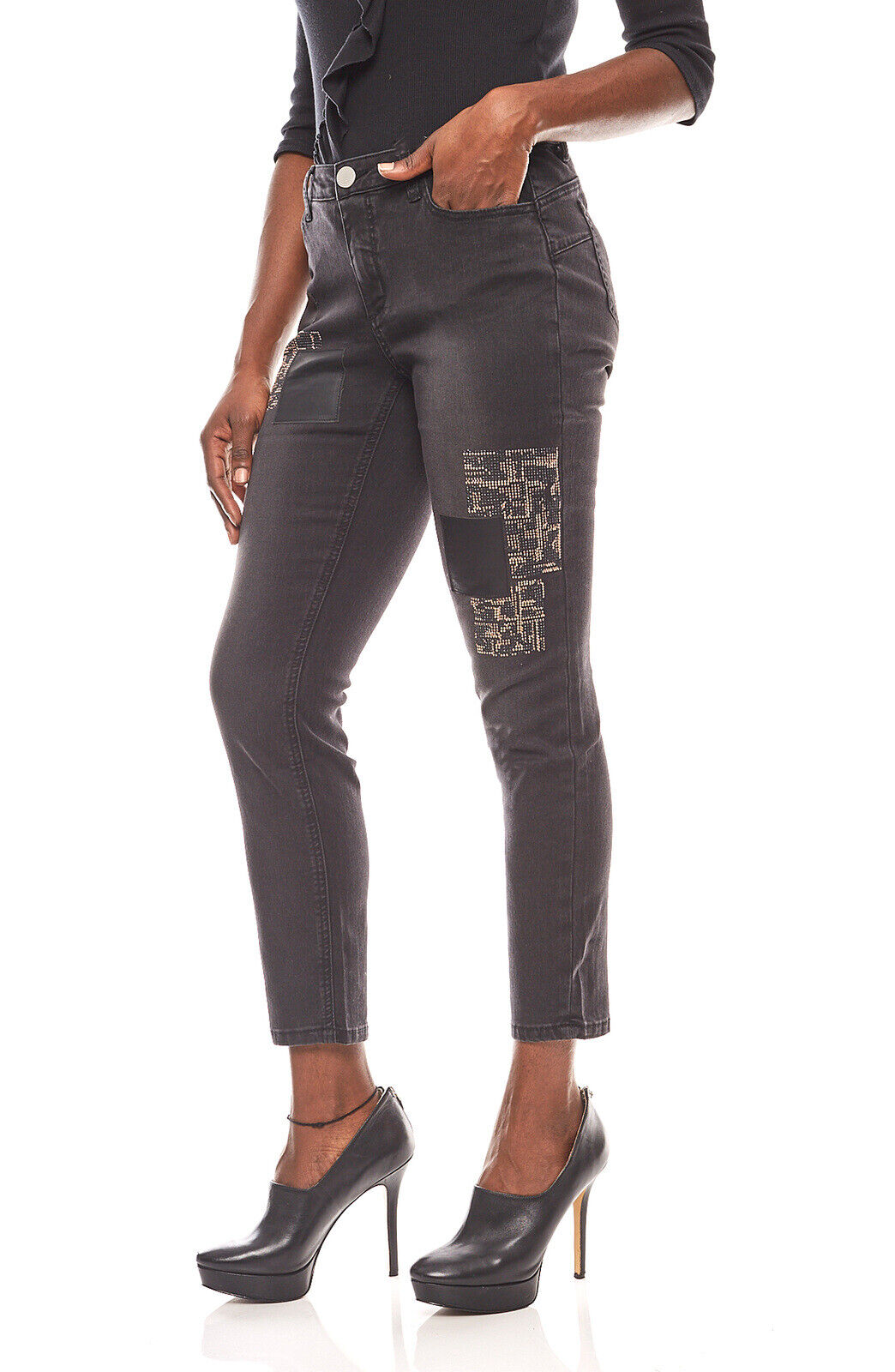 rick cardona Röhren Jeans-Hose mit Pailletten Trend enge Hose Kurzgröße Schwarz