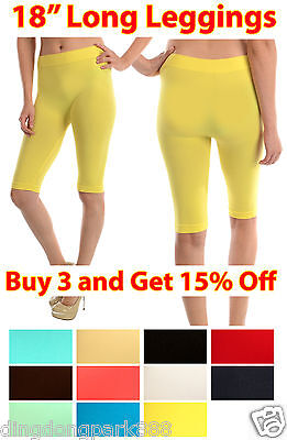 WOMEN SEAMLESS ONE SIZE STRETCH SPANDEX YOGA PANTS OPAQUE 18″ inch LEGGINGS Clothing, Shoes & Accessories