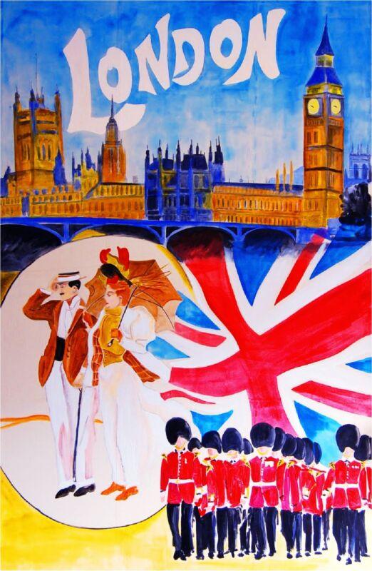 London England Great Britain Big Ben Flag Travel Advertisement Art Poster