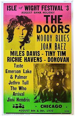 Music Poster Reprint Isle of Wight Festival 1970 The Doors Moody Blues Joan Baez