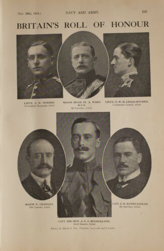1914 WW1 PRINT BRITAINS ROLL OF HONOUR LEGGE-BOURKE WAKE LIEUT TURNER CRAWLEY