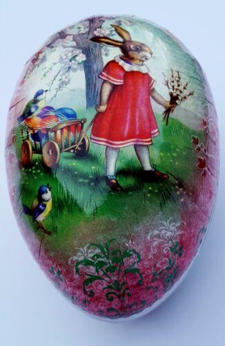 Nestler Germany Folk Art Egg Girl Bunny Rabbit Bird Flower Paper Mache Easter