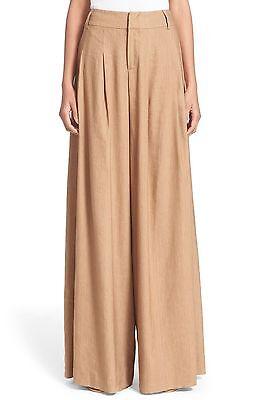 ALICE + OLIVIA Scarlet Flare Wide Leg Tan Pants Linen Blend $298 NWT C602140573