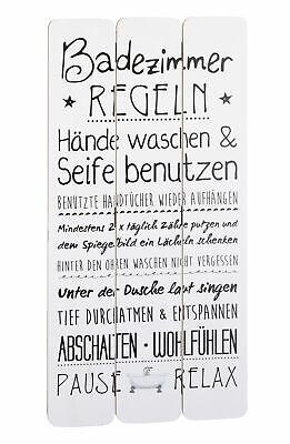 Bad Badezimmer Bild (Holz Bild mit Badezimmer Regeln weiß - 60x30 cm - Wand Deko Planken Schild Bad)