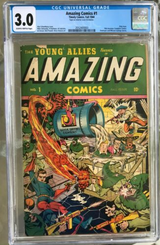Amazing Comics #1 (1944) CGC 3.0 -- Schomburg Young Allies cover; Only issue