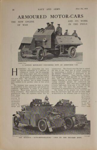 1914 WW1 ARTICLE & PICS ARMOURED MOTOR CAR LONDON MOTOR BUS MINERVA AUTOMOBILE