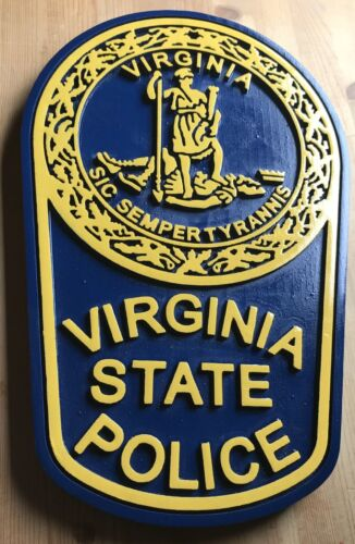 Police Virginia State 3D routed wood patch plaque Sign Custom