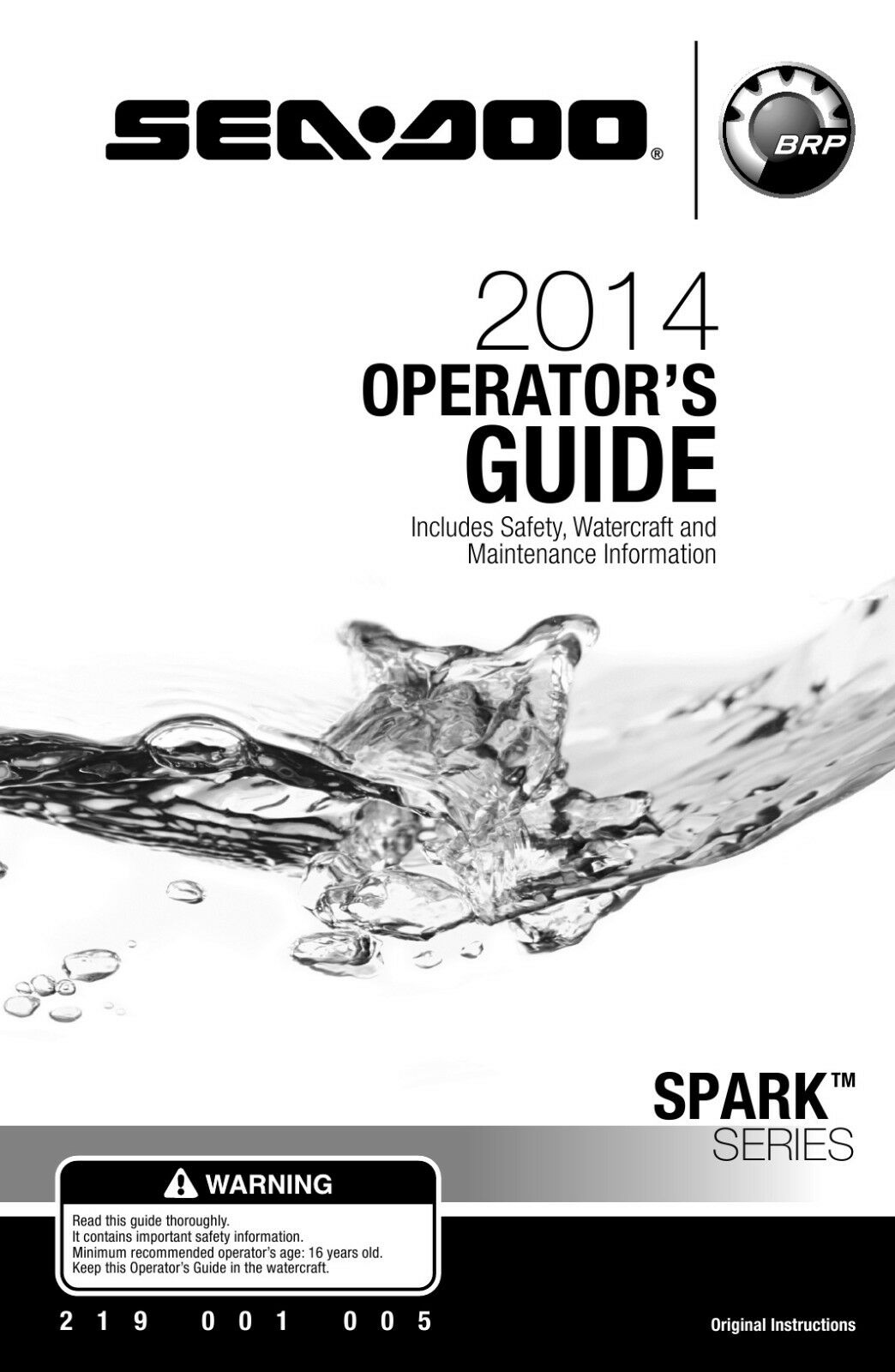 Sea-Doo 2014 Spark Series, Owners Manual Paperback, Free Shipping