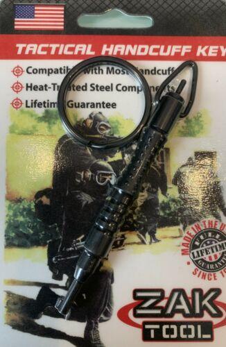 Swivel Handcuff Key - Zak Tool ZT11P - Carbon Fiber Body -  Steel Key & Keyring
