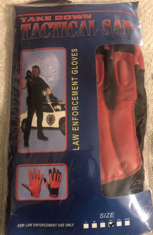 """GENUINE """"TAKEDOWN """"Weighted SAP GLOVES RED. LEATHER WITH BLACK Nylon SIZE XL"""