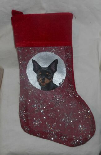 Chihuahua Dog Hand Painted Christmas Gift Stocking Hand Painted