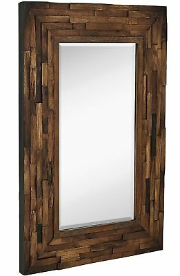 Rustic Natural Wood Framed Wall Mirror Solid Construction Gl