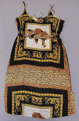 Boohoo Women's Plus Chain Print Slip Midi Dress KB6 Black Size US:10/UK:16 NWT