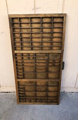 Antique Vintage Hamilton Printer's Drawer Divided Tray Shadow Box Shelves