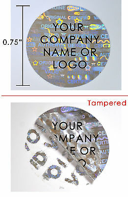 500 Hologram Round Security Labels Stickers Seals Custom Print Silver 34 Dia.