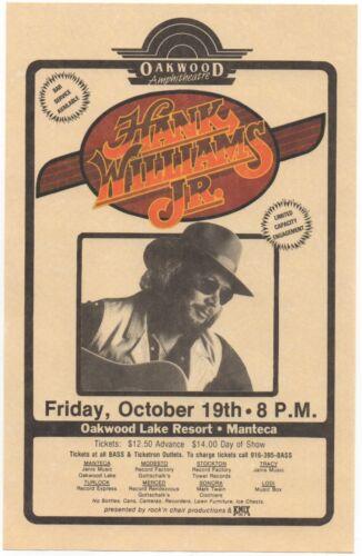 NICE MINT ORIGINAL 1984 HANK WILLIAMS JR MANTECA, CALIFORNIA CONCERT HANDBILL