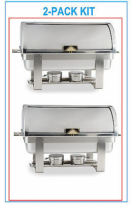 2 Pack Full Kit 8 Qt Deluxe Roll Top Chafer Stainless Chafing Dish Fast Ship