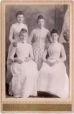 VICTORIAN FASHION ca 1880s CABINET PHOTO FOUR YOUNG WOMEN, TAUNTON, MASS. STUDIO