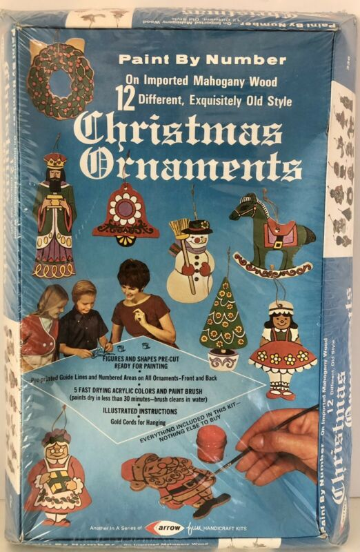 NEW SEALED Vintage Christmas Ornaments Arrow Paint By Number 12 PCs No 336 1970