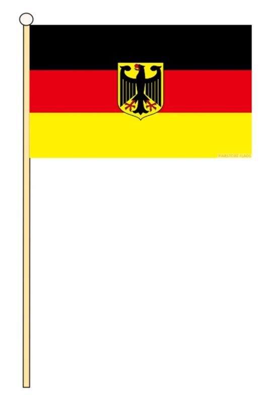 """GERMANY EAGLE 18"""" x 12"""" LARGE HAND WAVING COURTESY FLAG & POLE"""