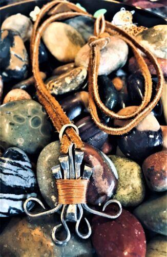 Spirited Vintage Nordic Runic Metal Copper Bound Leather Tie Pendulum Necklace