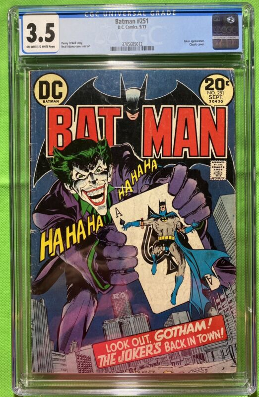 Batman #251 CGC 3.5 OW/W Pages - Classic Neal Adams Joker Cover!