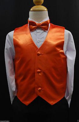 Children Teen Boys ORANGE VEST + BOW TIE for Wedding Formal Suits Tuxedo Sz S-28](Suits For Children Boys)