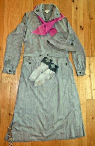 1936-39 Girl Scout UNIFORM DRESS BELT HAT NECKERCHIEF SOX  5 PIECES Excellent