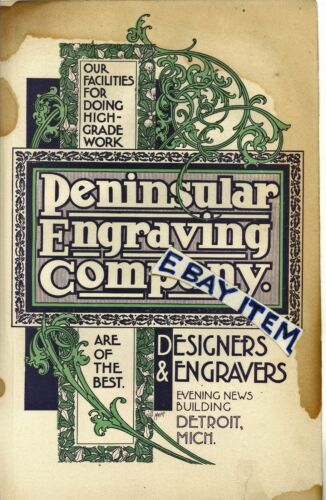 1899 COLOR ADVERTISEMENT Detroit Michigan PENINSULAR ENGRAVING COMPANY engravers