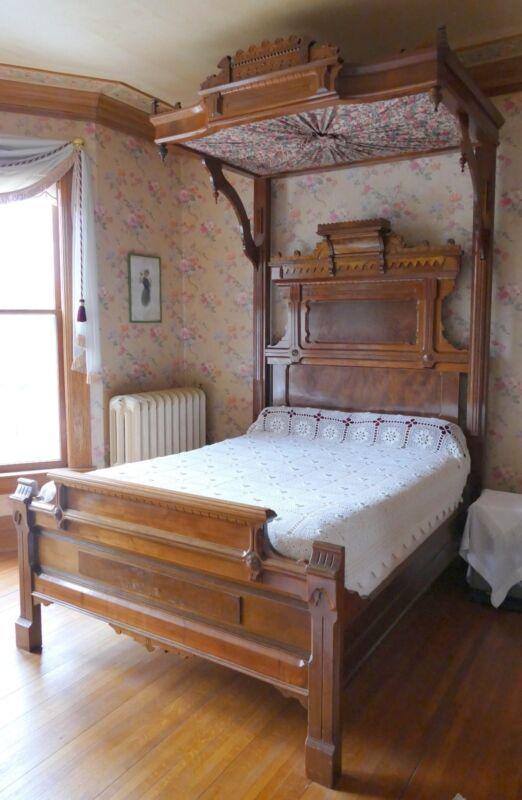 Ca. 1875 Victorian Walnut Burl Half Tester Eastlake Canopy Bed Ornate